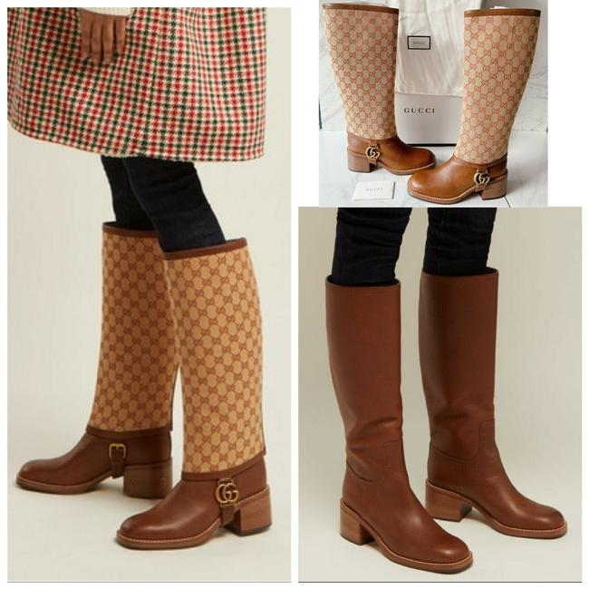 Item - Brown Lola Beige Monogram Canvas Gg Logo Gaiter Riding Boots/Booties Size US 7 Regular (M, B)