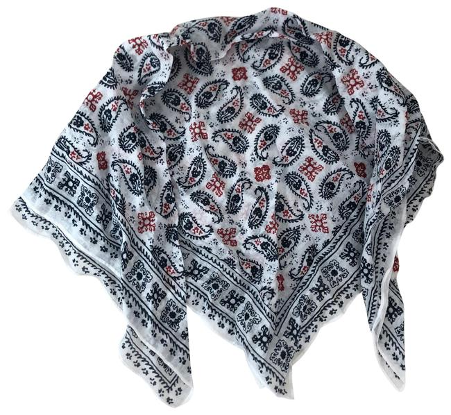 Item - Blue White Red Cotton Square Scarf/Wrap