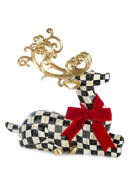 Item - Black and White Westminster Courtly Check Resting Deer Reindeer Ceramic Resin Decoration