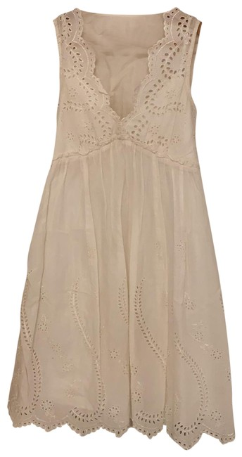 Item - White Cotton Lace Short Casual Dress Size 4 (S)