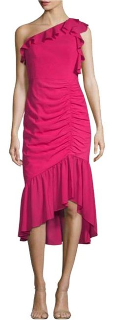 Item - Pink One Shoulder Mid-length Cocktail Dress Size 0 (XS)