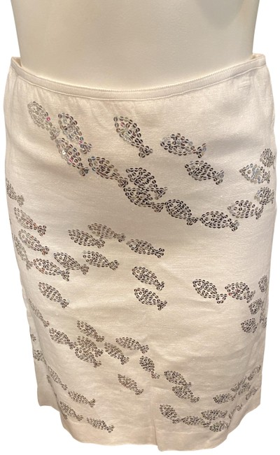 Item - White Silver Fish Linen Sequin Skirt Size 0 (XS, 25)