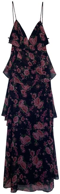 Item - Pink Navy Wyatt Floral Tiered Gown Long Cocktail Dress Size 0 (XS)