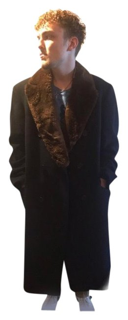 Item - Navy Brown Fur Vintage 70s Cashmere Wool Bridge with Collar Mens Coat Size OS (one size)