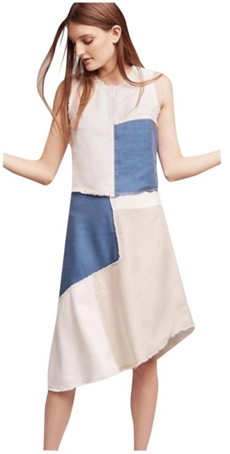 Item - Blue Tan Frida Patchwork Skirt Top Set Co Ord Mid-length Casual Maxi Dress Size 4 (S)