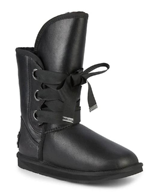 """Item - Black Sz5/6 Leather """"Bedouin"""" Lace-up Double-faced Sheepskin Boots/Booties Size EU 36 (Approx. US 6) Regular (M, B)"""