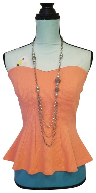 Item - Strapless Built-in Bra Peplum Bottom Coral Tube S Orange Top