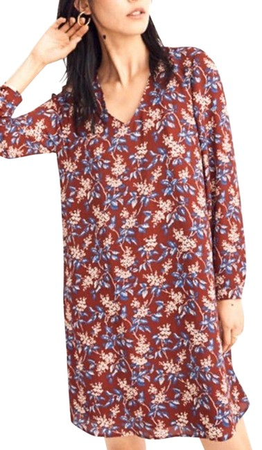 Item - Red XS Button-back Swing Long Sleeve Antique Flora J9275 Short Casual Dress Size 2 (XS)