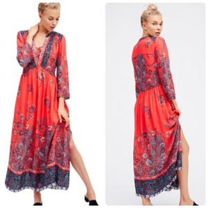 Red-Orange and Blue Maxi Dress by Free People Boho Floral V-neck 3/4 Sleeve
