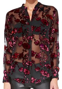 Item - Black / Pink Sheer Floral Velvet Burnout Blouse