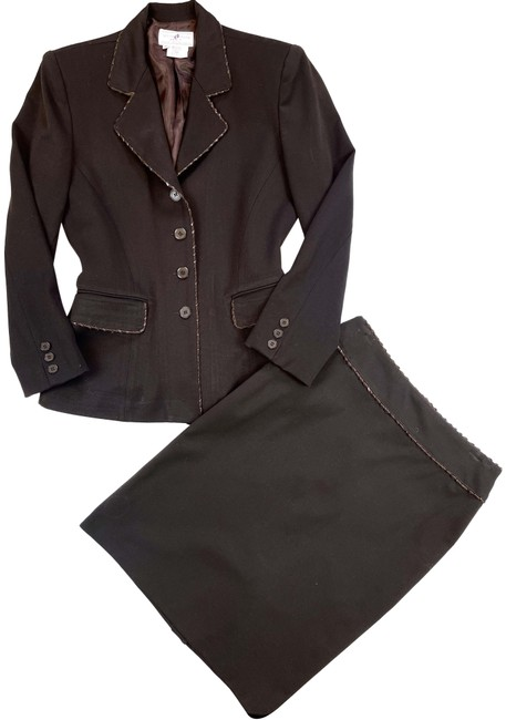 Item - Brown Made In France Leather Stitched Trim Skirt Suit Size 6 (S)