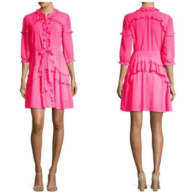 Item - Hot Neon Bright Pink Tilly Ruffle Short Casual Dress Size 6 (S)