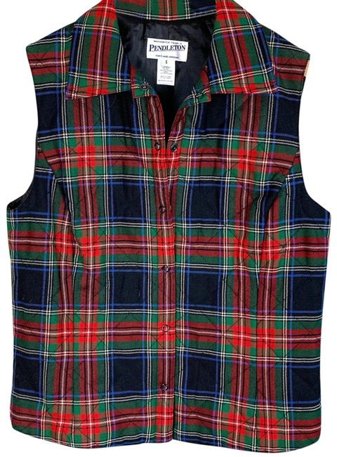 Item - Red Vintage Tartan Plaid Quilted Wool Small S Vest Size 4 (S)
