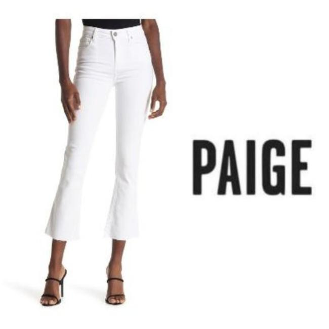 Paige White Light Wash Rory Crop Raw Hem Flare Style # 3378c67-owt Capri/Cropped Jeans Size 30 (6, M) Paige White Light Wash Rory Crop Raw Hem Flare Style # 3378c67-owt Capri/Cropped Jeans Size 30 (6, M) Image 1