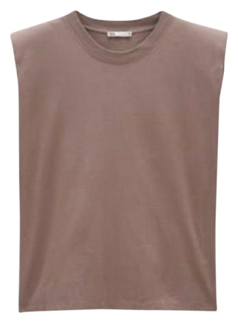 Item - Brown Padded Shoulder Tee Shirt Size 8 (M)