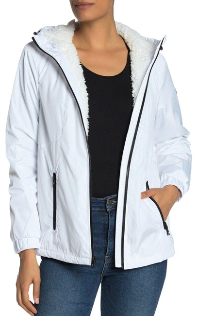 Item - White Missy Faux Shearling Lined Jacket Black Hooded Coat Size 8 (M)