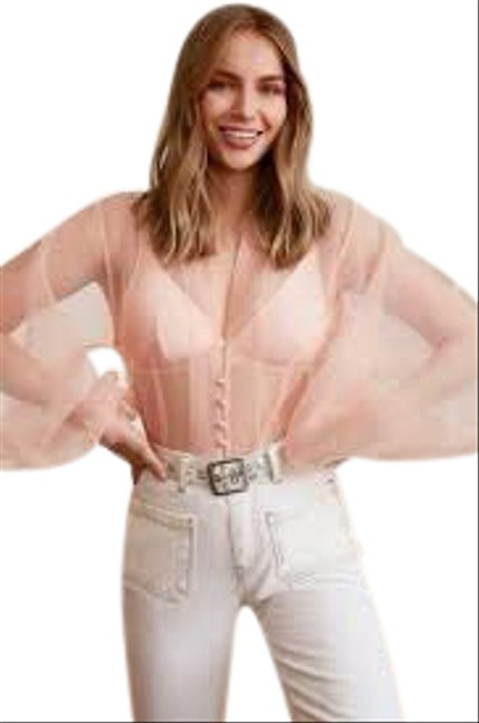 Item - Peach Pink Sheer Organza Blouse Size 4 (S)