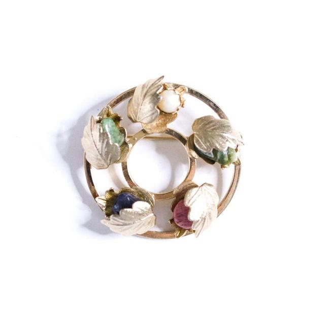 Item - Gold Blue Cream Pink Green Vintage Floral Brooch