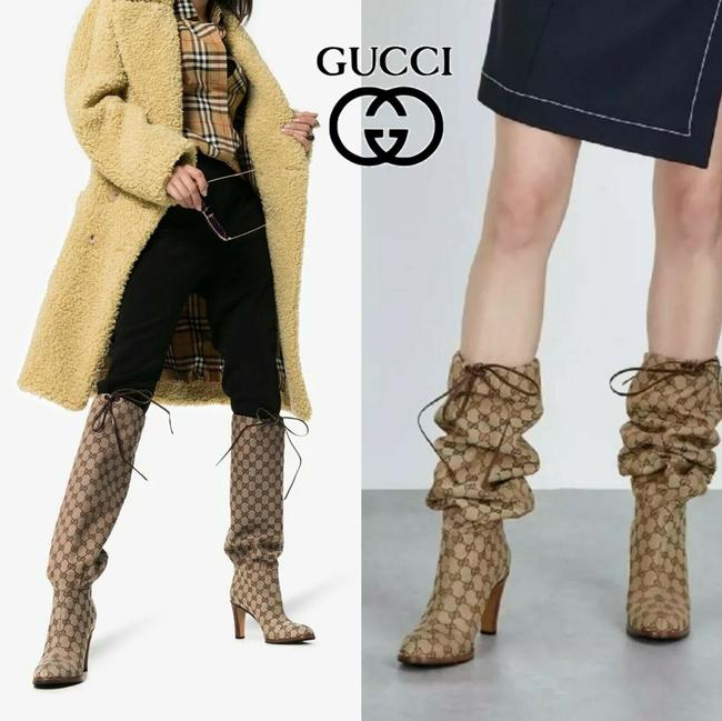 Item - Beige Tan Brown Lisa Gg Canvas Supreme Knee Lace Tie Eu 35 Boots/Booties Size US 5 Regular (M, B)