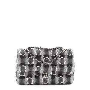 Item - Classic Flap Classic Double Quilted and Medium Black Gray White Tweed Wool Shoulder Bag