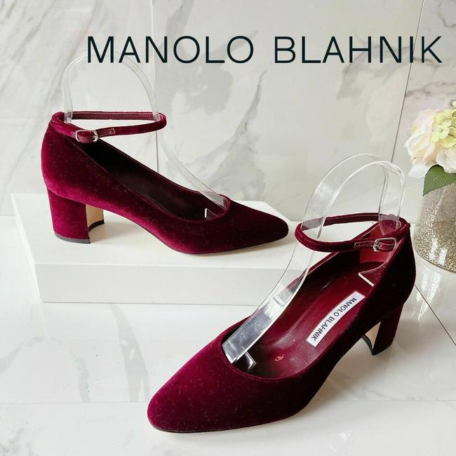 Item - Red Bordeaux Listony Strap 50 Velvet Women's Ankle Strap Pumps Size US 6.5 Regular (M, B)