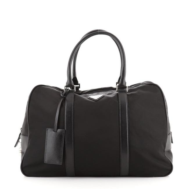 Item - Convertible Zip Around Briefcase Tessuto with Saffiano Large Black Nylon Leather Shoulder Bag