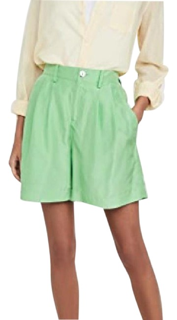 Item - Green Habotai Drapey Silk High Rise Shorts Size 10 (M, 31)