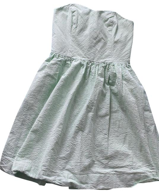 Item - Green and White Seersucker 74065 Short Casual Dress Size 0 (XS)
