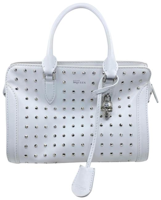 Item - Studded Handbag White and Silver Leather Tote