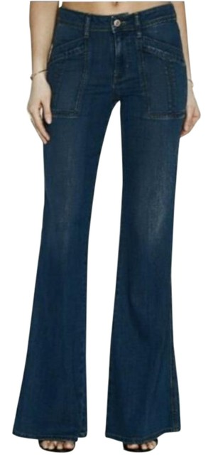 Item - Blue Dark Rinse Trouser In Rouss Wash Flare Leg Jeans Size 28 (4, S)