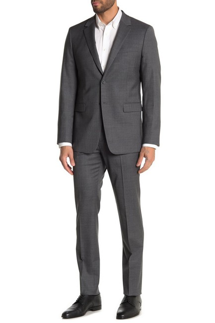 Item - Charcoal Men's Xylo Nested Sharkskin Two Button Notch Lapel Pant Suit Size 10 (M)