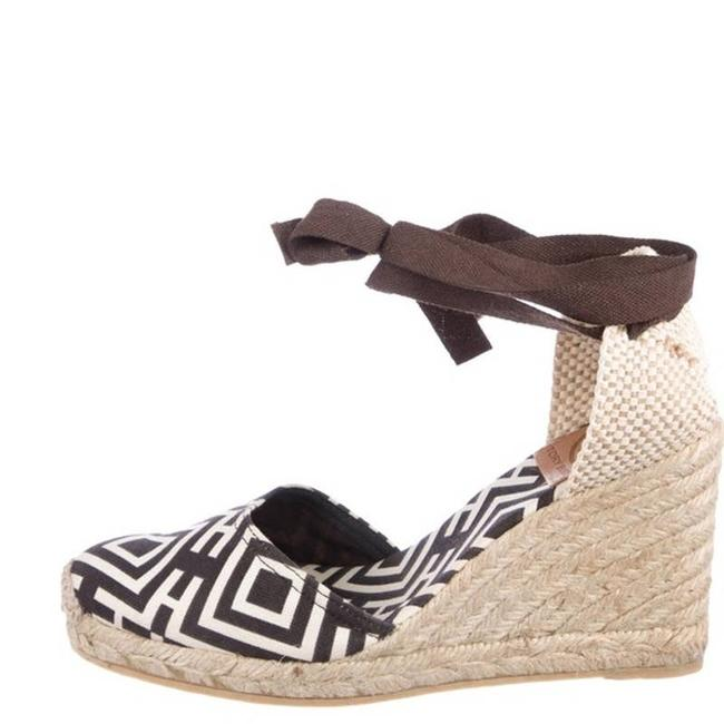 Item - Cream Brown Ankle Wrap Geometric Neutrals Espadrilles Wedges Size EU 37 (Approx. US 7) Regular (M, B)