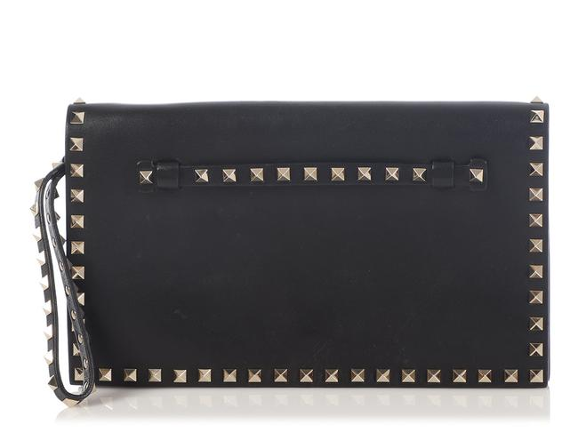 Item - Rockstud Black Leather Clutch