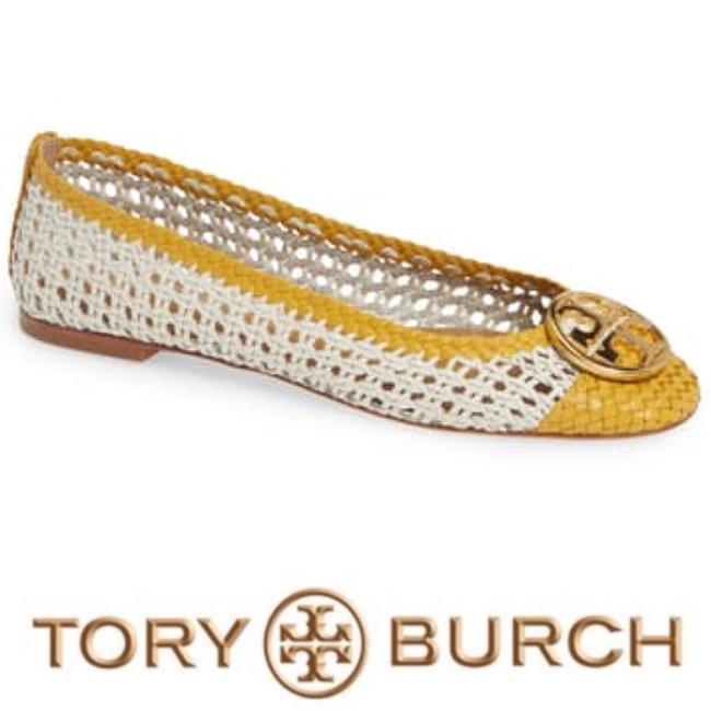 Item - White & Yellow with Gold Chelsea Woven Cap Toe Ballet Flats Size US 7.5 Regular (M, B)