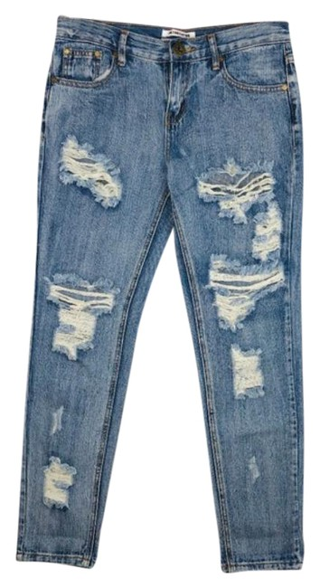 Item - Blue Distressed Awesome Baggies Tapered Roll Cuff Relaxed Fit Jeans Size 24 (0, XS)