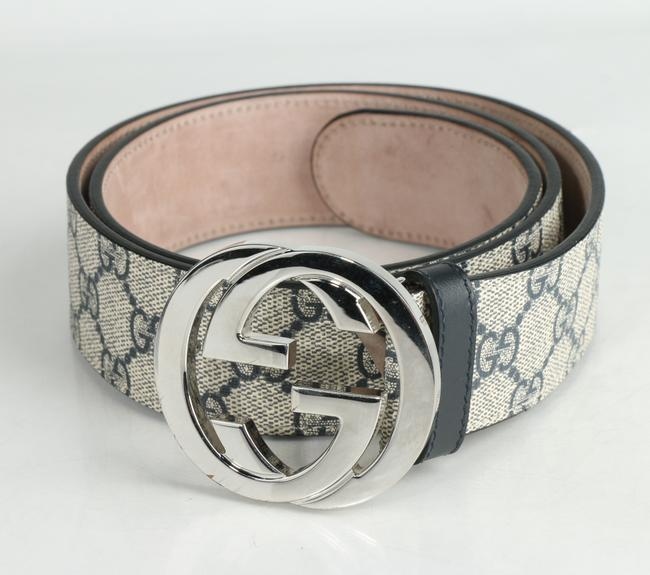 Item - Beige/Blue Gg Supreme Belt with G Buckle Men's Jewelry/Accessory