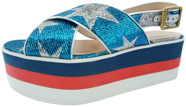 Item - Blue Sylvie Glitter Starry Sky Platform Crossover Sandal Wedges Size EU 36.5 (Approx. US 6.5) Regular (M, B)