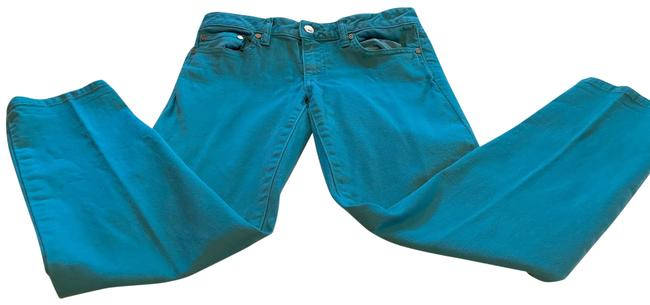 Item - Teal Green Coated Alexa Cropped Skinny Jeans Size 4 (S, 27)