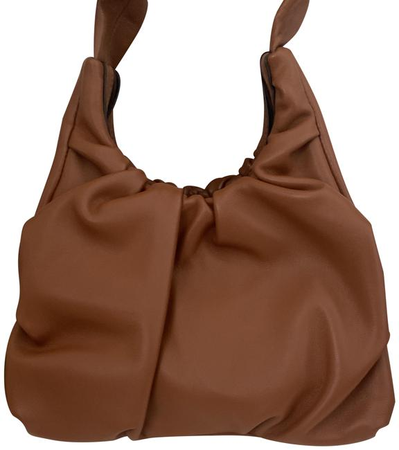 Item - Island Ruched Light Brown Lambskin Leather Tote