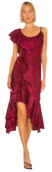 Item - Red Georgeta Mid-length Cocktail Dress Size 6 (S)