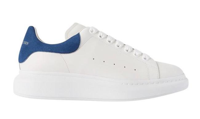 Item - White Blue Suede-trimmed Leather Oversized Exaggerated-sole Sneakers Size EU 37.5 (Approx. US 7.5) Regular (M, B)