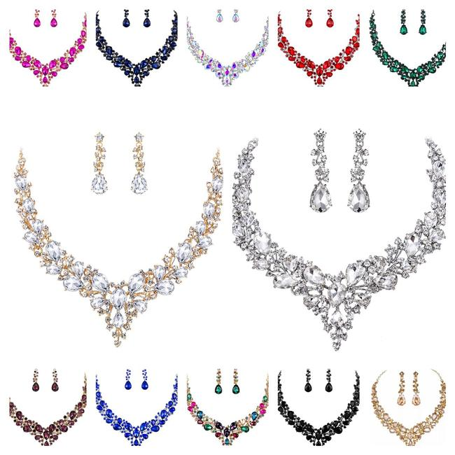 Item - Necklace and Earring Bridesmaids Special Occasions 12 Colors Jewelry Set