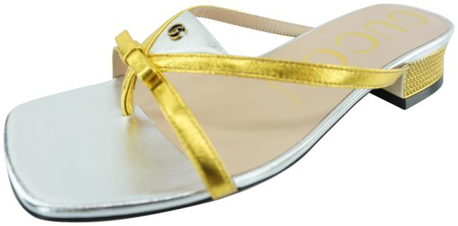 Item - Silver Alison Bow Gold Strappy Metallic Sandals Size EU 35 (Approx. US 5) Regular (M, B)