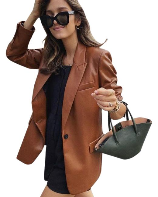 Item - Brown Faux Leather In Chocolate Blazer Size 4 (S)