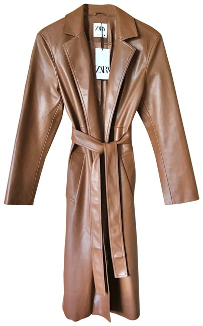 Item - Brown Faux Leather Trench Jacket with Belt Coat Size 4 (S)