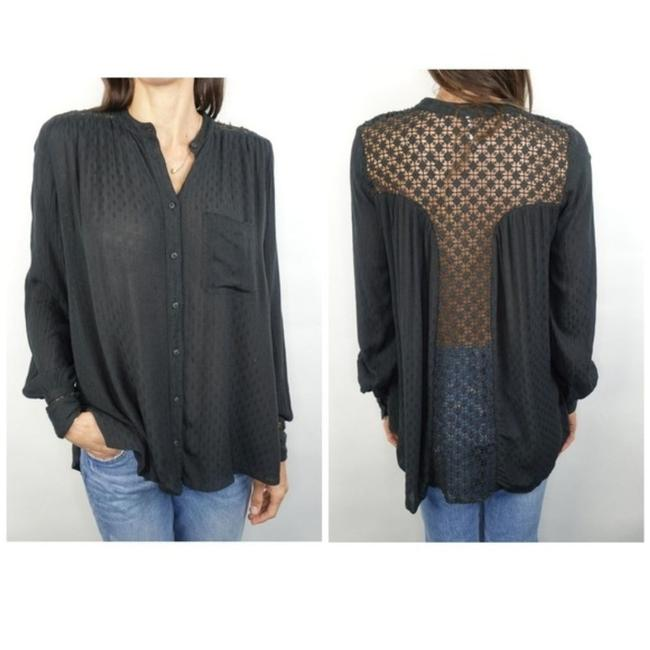 Item - Black XS The Best Crochet Lace Inset Shirt Blouse Boho Button-down Top Size 0 (XS)