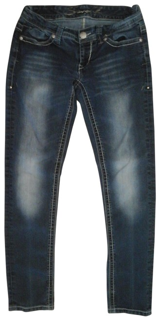 Item - Blue Dark Rinse Embroidered Skinny Jeans Size 28 (4, S)