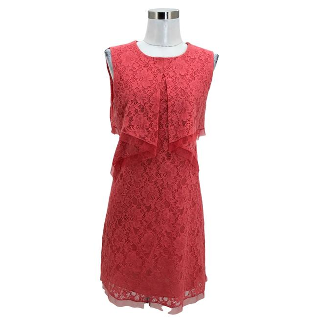 Item - Pink Coral N1223 Bcbg Max Azria Small 6 Lace Amelie Sheath Short Formal Dress Size 4 (S)