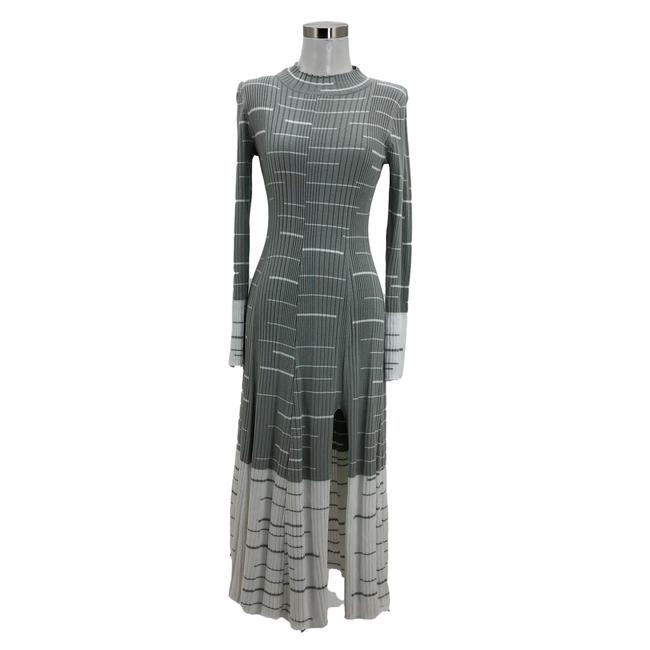 Item - Gray White N471 Designer Small 6 Striped A-line Long Casual Maxi Dress Size 4 (S)