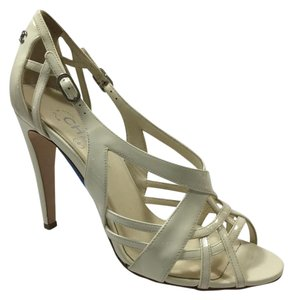 Chanel Strappy Patent Leather Ivory Sandals